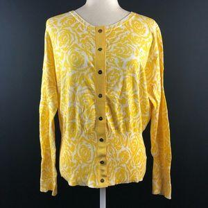 Anne Klein Yellow Floral Snap Button Cardigan